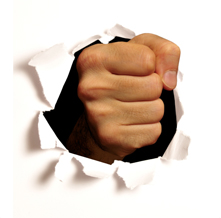 fist busting through